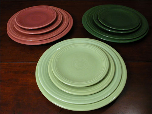 Fiesta Vintage Fiestaware 50s Colors Plates Full Sets Chartruese Rose Forest Green